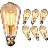 Ampoule LED Edison Vintage Massway Retro LED Edison E27 (4W / 220V) 2600-2700 K Blanc chaud ambré Rétro Lampe antique style v