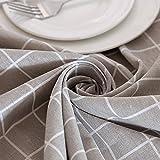 Saebye Leinendecke Tischdecken, Tischdecke abwaschbar schmutzabweisend Farbe Größe Wählbar(Grau,140x160)