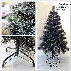 Árbol de Navidad artificial de pino negro Envio Gratis* Bañado en purpurina C/Soporte metálico 90cm-210cm (180CM 250 PUNTAS)