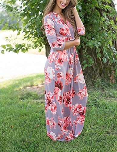 Modetrend Femmes été Bohème Longue Maxi Robe de Plage Robes été Floral Imprimé 3/4 Manche Bodycon Dress Couleur 1