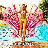 Aufblasbare Rosa Shell Pool Float Fahrt mit Schnellventile Sommerstrand Pool PartySpielzeug Kinder Erwachsene 150X140X18cm (Rosa Shell)