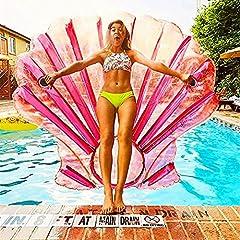 Idea Regalo - Fan Shell Gonfiabile Galleggiante rosa Piscina Galleggiante con Valvole Rapide Summer Beach Pool Party Giocattoli per Bambini Adulti (150 * 140 * 18 cm)