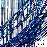 CozofLuv 2 Packung 100*300cm Folie Vorhang Metallic Folie Fransen Vorhänge Tür Fenster Vorhänge für Party and Wedding Dekorationen (Blau)