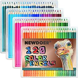 newdoer cena 120Ultimate estuche de lápices de colores, lápices, diseño de la mejor para artistas, Comics, ilustración, interior Funda, estudiante, arte y colorear para adultos amantes