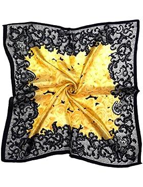 Bees Knees Fashion - Bufanda - Bufanda Cuadrada De Seda Pequeña Impresa Floral Amarilla Negra