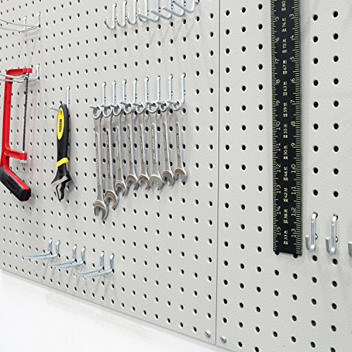 Seville Classics UHD20224 Werkzeug Lochwand mit 46 Haken, Metall pulverbeschichtet, 3-teilig, 182,9 x 60,9 cm, grau - 8