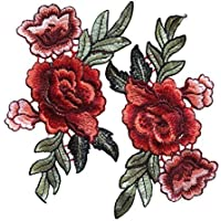 Parche bordado, cara superior, para coser o planchar,1 par de rosas, flores bordadas de Oerity, para camisetas, vaqueros o como decoración de sombrero, #4, #4