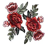 2 Stück Rose Blume Stickerei Spitze Aufn?her Aufbügler Applikation Iron on Patches Für T-Shirt Jeans Hut Dekor