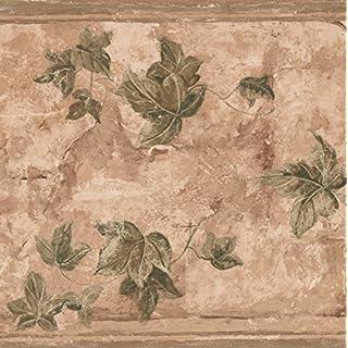 Grün Blätter auf Zweige braun geblümt Tapete Bordüre Retro Design, Rolle 15'x 22,9cm