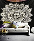 Raajsee Indisch Wandteppich Mandala baumwolle / Indien Wandbehang Schwarz Weiß Lotus Mandala groß Tapisserie Queen 220x240 cms / Hippie Bohemian psychedelic Ombre Wand Tuch / Yoga Meditation rugs