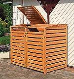 PROMADINO Mülltonnenbox VARIO III Müllbox für 2 Mülltonnen HONIGBRAUN 324/12
