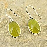 Orecchini D?Orecchie ovali Oliven pietra naturale e Argento 925giada nefrite
