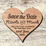 50x Save the date Magneten, rustikale Holz Hochzeit lädt, personalisiert mit Namen Datum & Standort