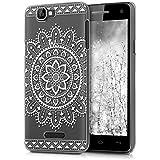 kwmobile Elegante y ligera funda Crystal Case Diseño Flor azteca para Wiko Rainbow 3G / 4G en blanco transparente