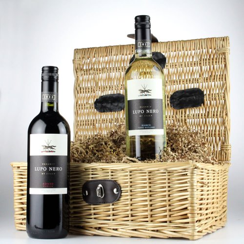 Italian Lupo Nero red and white wine twin pack gift hamper