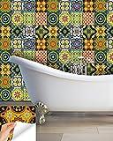 Adhesivo Decorativo para Azulejos 24Pc Set auténtico Tradicional Talavera Azulejos stickersl Azulejos de Cocina y baño fácil de aplicar despegar y Pe
