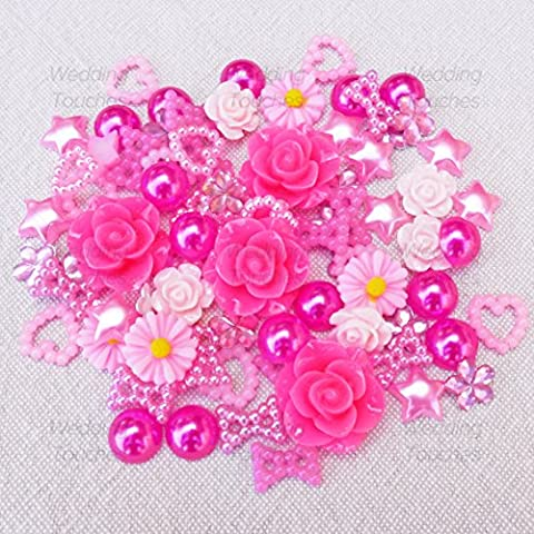 80 Mix Pink Shabby Chic Resin Flatbacks Craft Cardmaking Embellishments