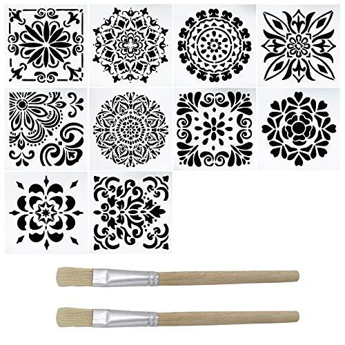 YuCool 10 Packs Malerei Schablone, Laser Cut Wiederverwendbare Schablonen mit 2 Pinsel für DIY Home Decor, Malerei auf Holz, Boden, Airbrush, Fliesen, Felsen und Wänden Stoffmöbel