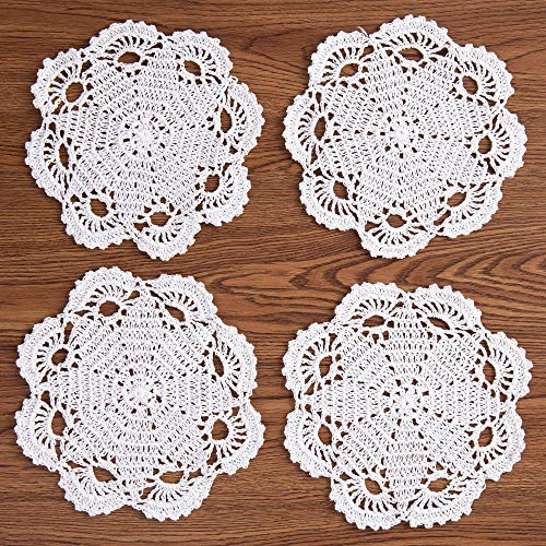 Eiya, centrini fatti a mano in cotone all'uncinetto, tovagliette all'americana, tovagliette, sottobicchieri, 20,3 cm, 4 pezzi (bianco)