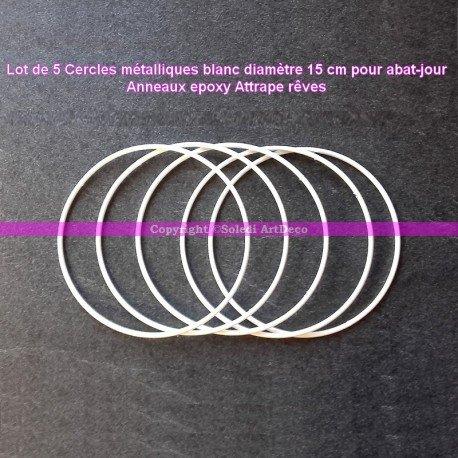 Lot de 5 Cercles métalliques blanc diamètre 15 cm pour abat-jour, Anneaux epoxy Attrape rêves