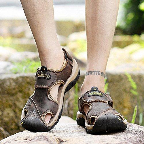 Männer Leder Sport Sandalen Mode Wasser Schuhe Sommer weichen Rindsleder Schuhe Schuhe Dark Brown