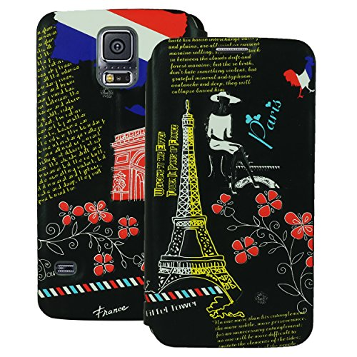 Heartly Country Series Printed PU Leather Flip Bumper Case Cover For Samsung Galaxy S5 i9600 - Paris Black  available at amazon for Rs.199