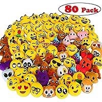 Aiduy Mini Emoji Llavero Emoji encantadora almohada almohadillas Emoticon Llavero Soft Party Bag regalo de relleno de juguete para los niños (80 pcs) - Peluches y Puzzles precios baratos