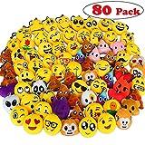 Emoji Porte clés, Aiduy Mini Emoji Face Porte clés Cute Plush Keyring Sets Enfants Party Supplies 6 cm Pack de 80