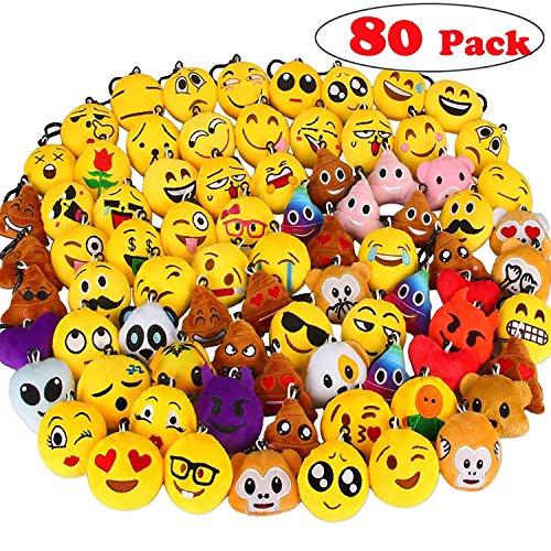 Emoji Schlüsselanhänger, Aiduy Set von 80 Party Favors Plüsch Schlüsselanhänger Tasche ()