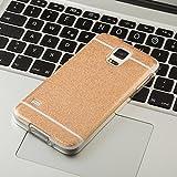 FINOO ® | Handyhülle Glitzer Bling Bling TPU Bumper Case Weiches Silikon Schutzhülle für SAMSUNG GALAXY Note 4 Gold
