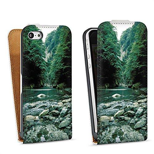 Apple iPhone 4 Housse Étui Silicone Coque Protection Fleuve Forêt Cours du fleuve Sac Downflip blanc