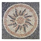 Divero Rosone Sonne 120x120cm Naturstein Mosaik Fliese Matte Motiv Bruchstein grau rose creme 16 Matten 30 x 30