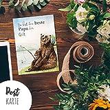 A6 Vatertagskarte Postkarte Print Bären Papa & Kind Angeln mit Spruch ..beste Papa der Welt pk181 ilka parey wandtattoo-welt®