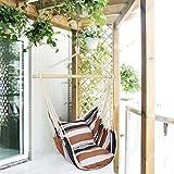Holifine Hängesessel Aufhängung Hängestuhl mit 2 Kissen und Spreizstab aus Holz, bis 100 kg Belastbar - Braun Streifen