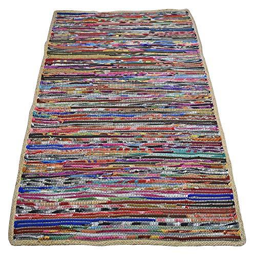 Casa Furnishings Chindi Dhurrie Teppiche und Läufer, aus recyceltem Fleece, natürlicher Jute-Bordüre, Multi, 90 x 150 cm - Natürlichen Läufer Teppich
