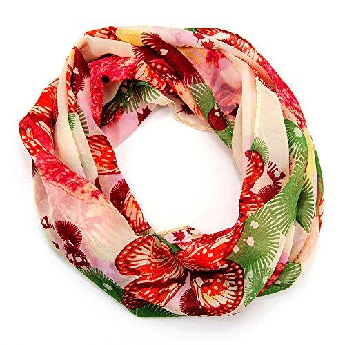 MANUMAR Loop-Schal für Damen | Hals-Tuch in RotGrün mit Schmetterling Motiv als perfektes Herbst Winter Accessoire | Schlauchschal | Damen-Schal | Rundschal | Geschenkidee für Frauen und Mädchen