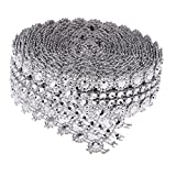 MagiDeal 5 Mètre Fleur De Cristal Strass Chaîne De Ruban Bordure Couture Applique À Coudre Loisir Créatif - Argenté #2