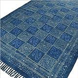 Eyes of India - Blau Indigo Baumwolle Blockdruck Akzent Bereich Dhurrie Teppich Gewebt Geflecht Boho Chic Indische Böhmisch - Blau, 4 X 6 ft. (120 X 180 cm)