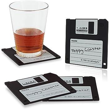 """GreatGadgets 1889-1 Untersetzer """"1.44 MB Floppy Diskette"""" (4x Schwarz)"""