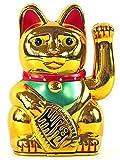 Winkekatze Glückskatze Maneki Neko, verschiedene Farben und Größen (16 cm, gold)