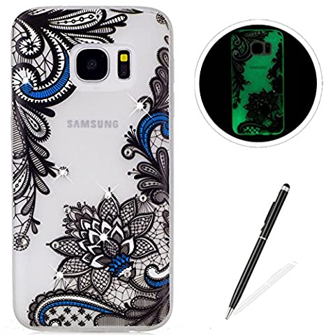 Samsung Galaxy S7 Case,Luminous effect Silicone case [Drop Protection],MAGQI Ultra Slim Soft Gel TPU Transparent Shell [Anti-Scratch][Shockproof][with Free Black Stylus] Beautiful Flower Girl Glitter Bling Crystal Stone Series Pattern Design For Samsung Galaxy S7 -
