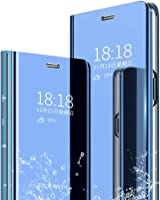 Cocklet Vivo U20 2019 Cover for Mobile Clear View Plating Mirror Flip Stand Case (Sky Blue)