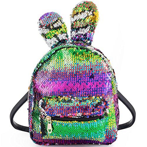 Pailletten Rucksäcke Damen Schulrucksack Glitzer Schulranzen mädchen Tagesrucksack Paillette Daypack Bunt Backpack Ideal Weihnachten Geburtstag Geschenk für Kinder