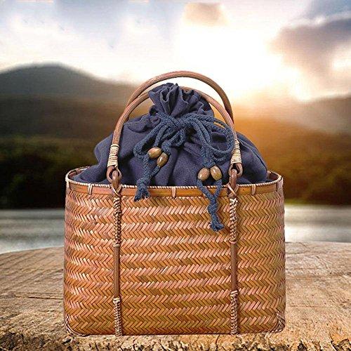 Somedays Bag Bamboo Bamboo Bag Bambus Handtasche Bambus Tasche Böhmen-Art-Moderne Bambusbeutel-Vielseitige Praktische Bambusbeutel-Reine Handgemachte Tasche mit Griff-Ring (Bambus-griff-handtasche)