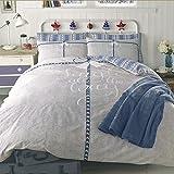 Dreamscene Jingle All The Way Housse de Couette avec taie d'oreiller Parure de lit, Bleu, Double