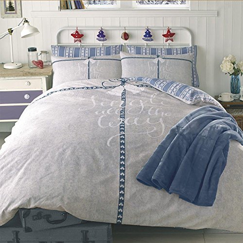 Dreamscene Jingle All The Way Duvet Cover with Pillowcase Bedding Set, Blue, Double