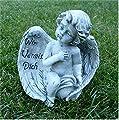 Kleiner Engel im Flügel Grabschmuck Grabdeko *Wir vermissen dich* grau antik, H 11 cm von Home3010 - Du und dein Garten