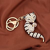 Click Down 1pcs Bling Cute Black with White Rhinestone Fox Metal Keychain Keyring by Click Down