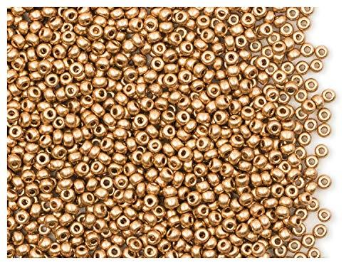 20gr (ca. 1820stk) Tschechische Glas Rocailles Preciosa, Größe 10/0 (2,2mm - 2,4mm), Farbe: Aztec Gold (Crystal Pale Gold Matte) (01710) - Tschechische Kristall Gläser