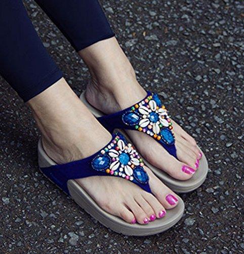 CHENGYANG Donna Spiaggia di Sabbia Infradito Antiscivolo Sandali Casuale Flip Flops Scarpe Zeppe Blu